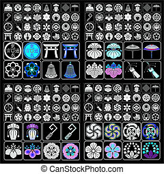 emblemas, crestas, japonés, familia