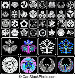 Japanese crests family emblems - Assortment of traditional...