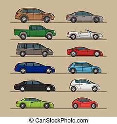 different car icon set