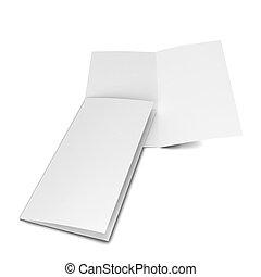 Bi-fold brochure. 3d illustration isolated on white...