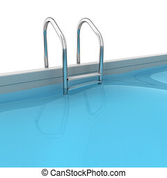 Swimming pool 3d illustration isolated on white background