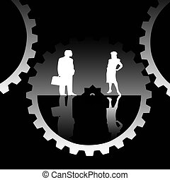 two person - illustration of two business people man and...