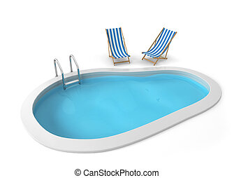 Swimming pool. 3d illustration isolated on white background