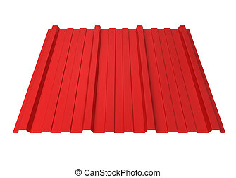 Corrugated metal sheet. 3d illustration isolated on white...