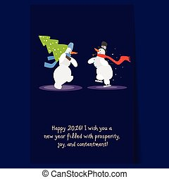 Two Funny Snowmen with a Christmas Tree. Winter Vector