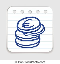 Doodle Coins icon. Blue pen hand drawn infographic symbol on...