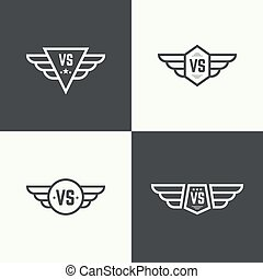 Versus sign vector - Versus sign. Badge with wings. Concept...
