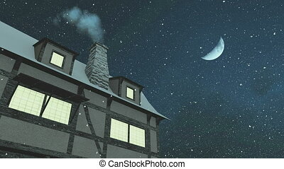 House with smoking chimney at night - Old rustic house with...