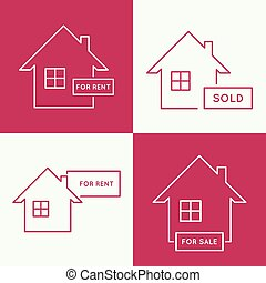 House with a sign for rent - Set of icons with houses for...