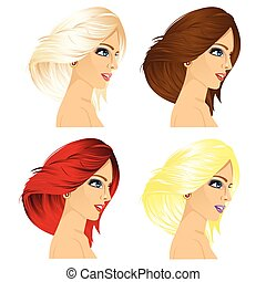 four women profile with different hair color - illustration...