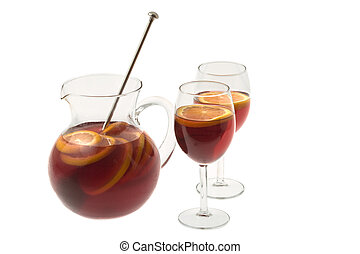 Red Wine Sangria in pitcher with stemware on white...