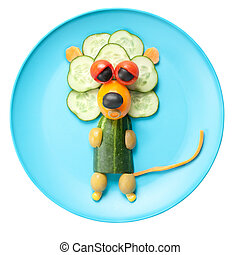 león, hecho, de, vegetales, en, azul, placa,
