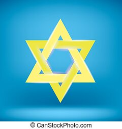 Yellow Star of David Isolated on Blue Background