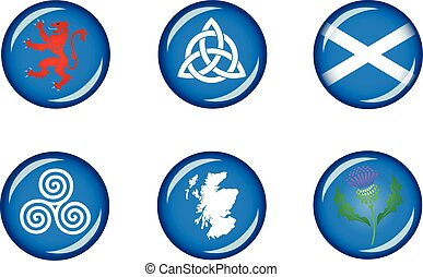 Scotland Glossy Icon Set - Set of vector graphic glossy...