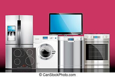 Kitchen and house appliances: microwave, washing machine,...