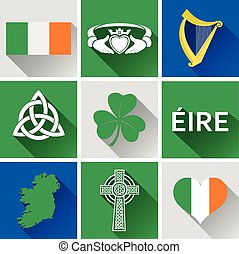 Ireland Flat Icon Set 1 - Set of vector graphic flat icons...