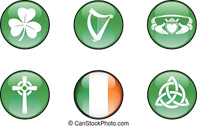 Ireland Glossy Icon Set - Set of vector graphic glossy...