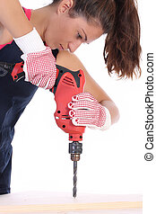 Beauty woman with auger