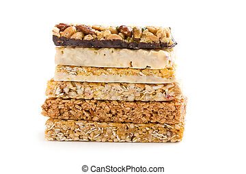 muesli bars on white background