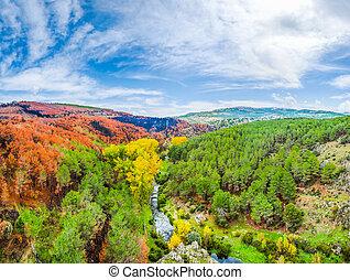 barwny, jesień, krajobraz, Blisko, Madryt, Castilla, Y,...