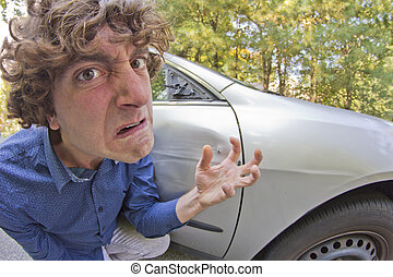 Car Crash Facial Expression - Silly man gets into car crash...
