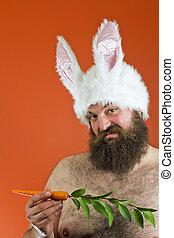 Fat Man Rabbit Ears - Confused bearded fat man wears silly...