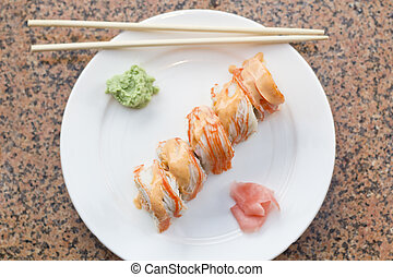 Spicy Crab Sushi Roll - Beautiful spicy crab roll with...