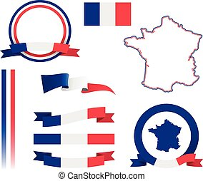 France Banner Set - Set of vector graphic ribbons and...