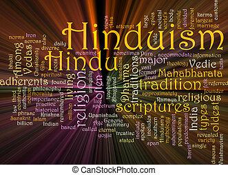 Hinduism word cloud glowing