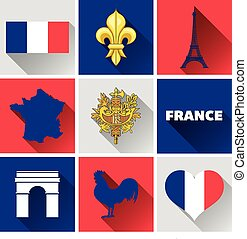 France Flat Icon Set - Set of vector graphic flat icons...