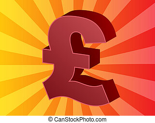 British pounds - British UK Pounds Currency symbol isometric...