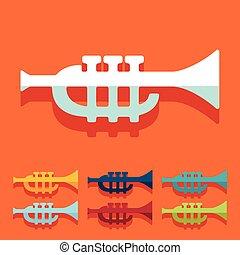 Flat design: trumpet