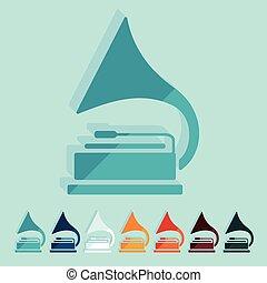Flat design: gramophone