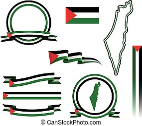 Palestine Banner Set - Set of vector graphic ribbons and...