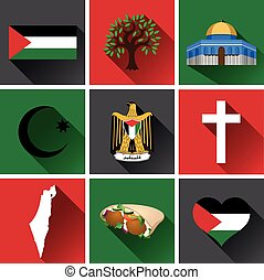 Palestine Flat Icon Set 2 - Set of vector graphic flat icons...
