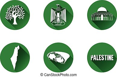 Palestine Flat Icon Set 1 - Set of vector graphic flat icons...
