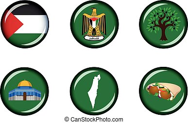 Palestine Glossy Icon Set - Set of vector grapic glossy...