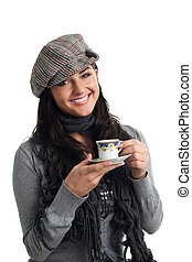 Young woman smile with cup of coffee