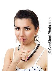 Beautiful woman show hush sign