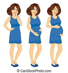 pregnant woman showing pregnancy growing process