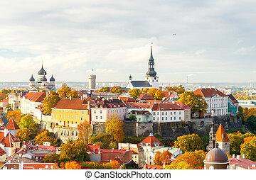 Tallinn. Estonia. Old city. - Tallinn, Estonia. View of the...