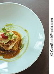 Exquisite dish in hotel restaurant - Close-up of exquisite...
