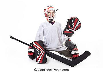 joven, Adolescente, hockey, goaler, ,
