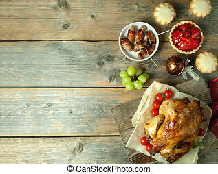 Thanksgiving meal background with space - Thanksgiving...