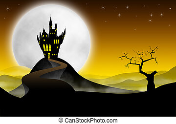 Medieval castle with long road - Spooky far medieval castle...