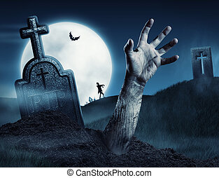 Zombie hand coming out of his grave Full moon