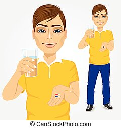 man taking pills with glass of water