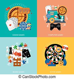 Gambling games 4 flat icons square - Popular gambling games...