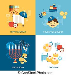 Hanukkah Design Concept - Hanukkah design concept set with...