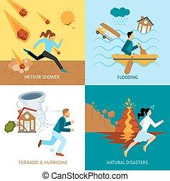 natural, Desastres, seguridad, diseño, concepto,